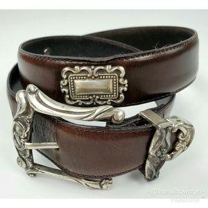 Vintage Fossil brown leather southwest design belt